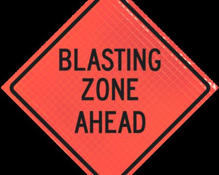 blasting zone ahead orange diamond roll up