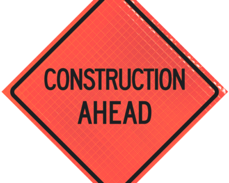 construction ahead orange diamond roll up