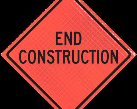 end construction orange diamond roll up