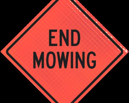 end mowing orange diamond roll up