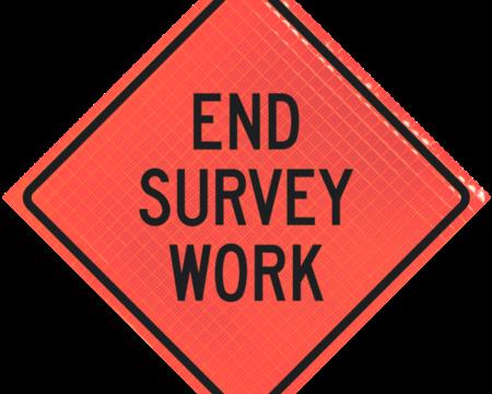 end survey work orange diamond roll up
