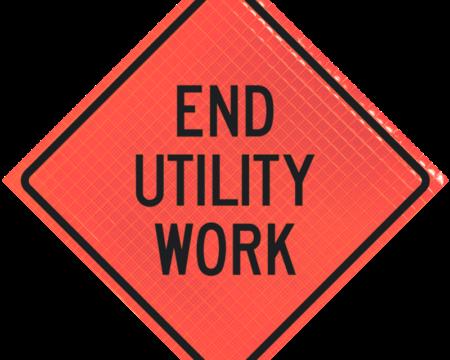 end utility work orange diamond roll up
