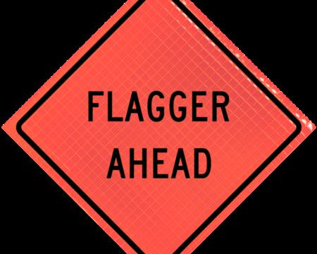 flagger ahead words orange diamond roll up