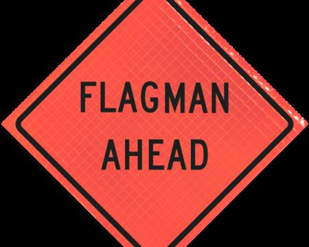 flagman ahead orange diamond roll up