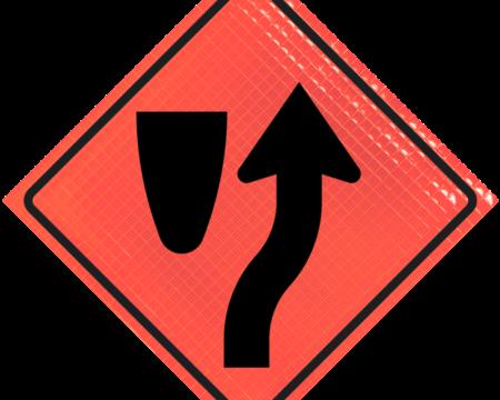 median orange reflective vinyl sign