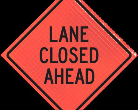 lane closed ahead orange diamond roll up