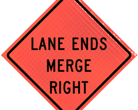 lane ends merge right orange diamond roll up