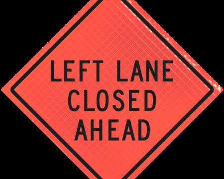 left lane closed ahead orange diamond roll up