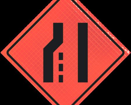merge lanes orange diamond roll up