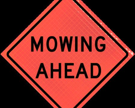 mowing ahead orange diamond roll up