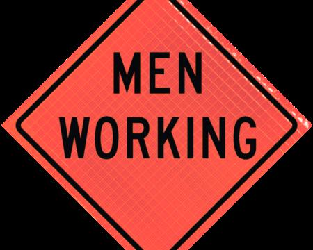 men working orange diamond roll up