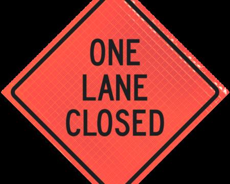 one lane closed orange diamond roll up