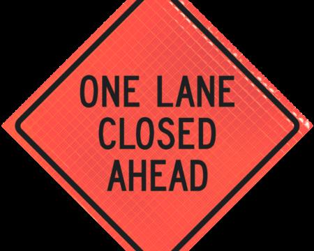 one lane closed ahead orange diamond roll up