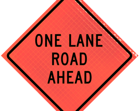 one lane road ahead orange diamond roll up