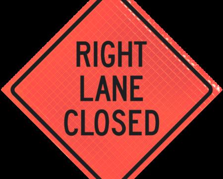 right lane closed orange diamond roll up