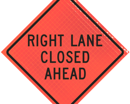right lane closed ahead orange diamond roll up