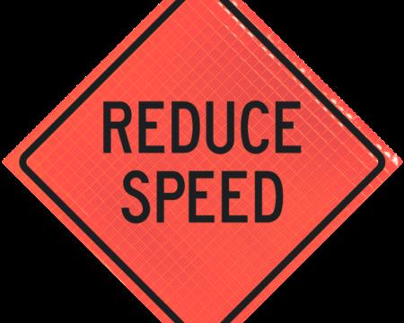 reduce speed orange diamond roll up