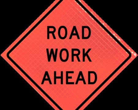 road work ahead orange vinyl sign