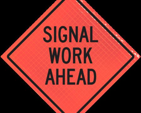 signal work ahead orange diamond roll up