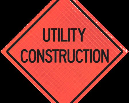 utility construction orange diamond roll up