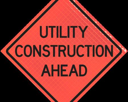 utility construction ahead orange diamond
