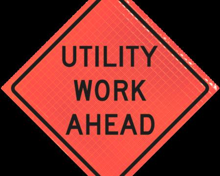 utility work ahead orange diamond roll up