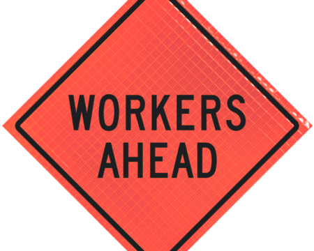 workers ahead orange triangle sign