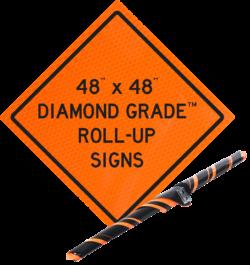 diamond grade orange roll up vinyl sign