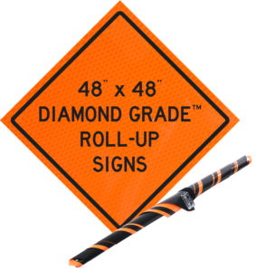 diamond grade orange roll up vinyl sign