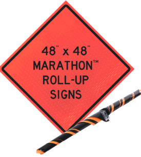 roll up orange vinyl sign