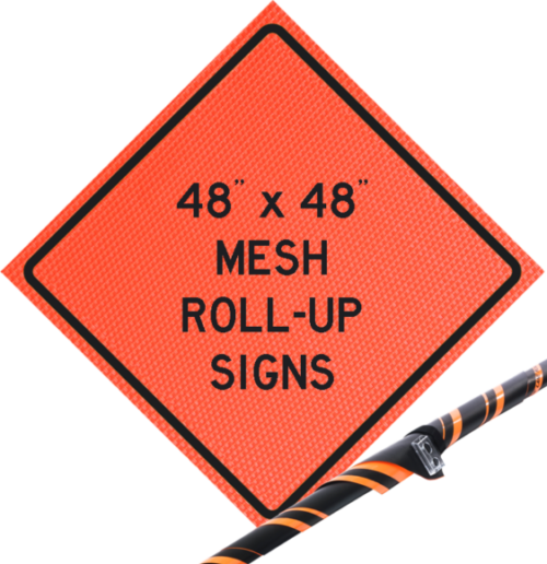 roll up construction safety sign