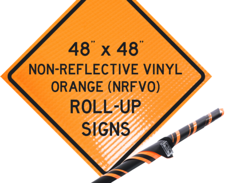 NRFVO roll up vinyl sign orange