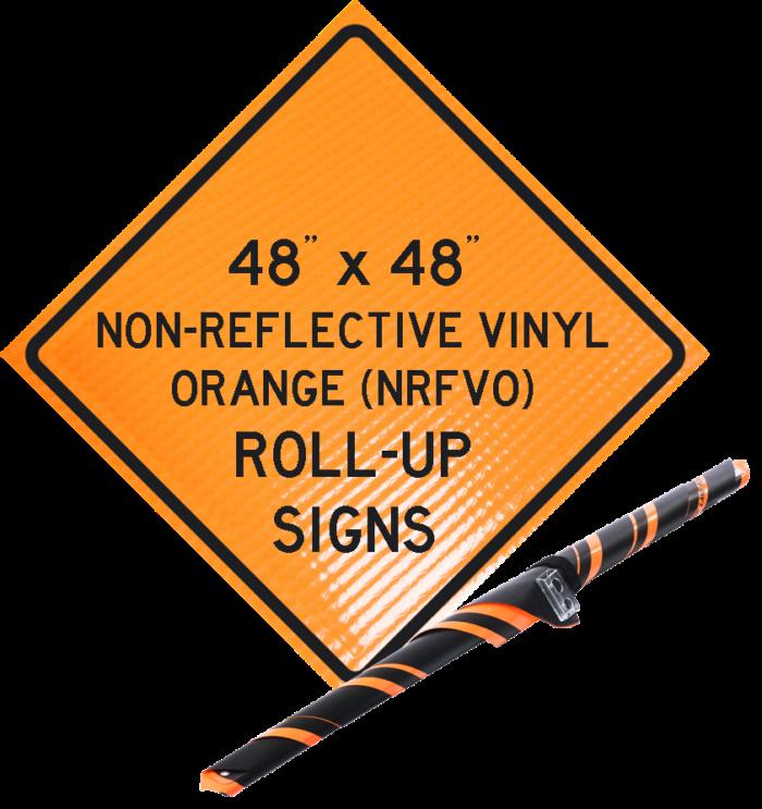 NRFVO roll up vinyl sign orange