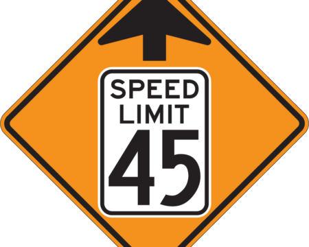 speed limit sign ahead diamond sign