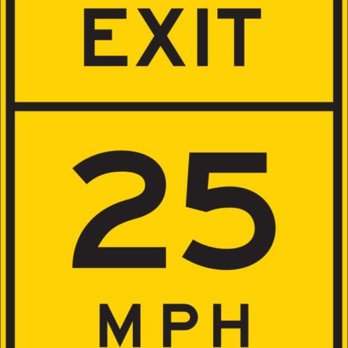 exit speed limit sign yellow