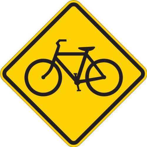 bike riders diamond yellow sign