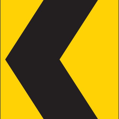 chevron turn this way yellow sign