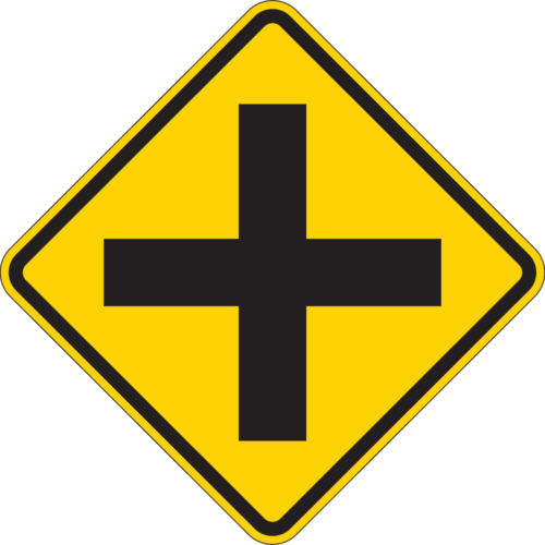 diamond cross road yellow sign