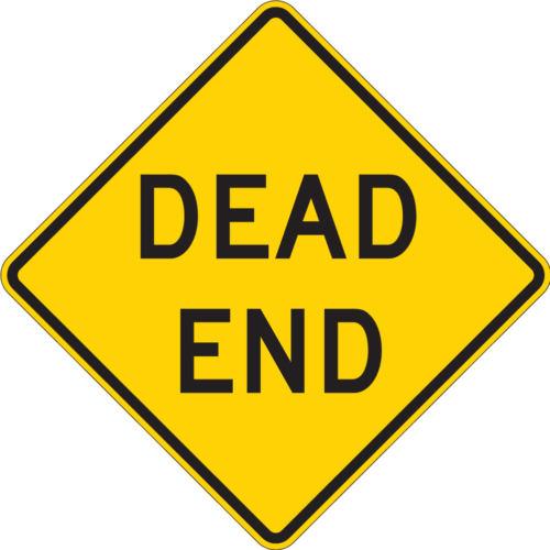 dead end yellow diamond sign