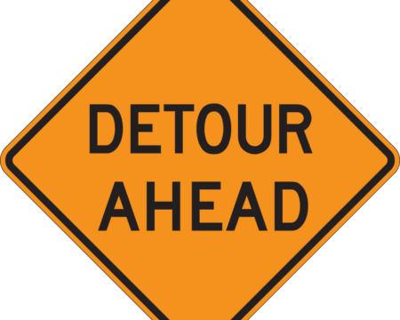 detour ahead diamon yellow sign
