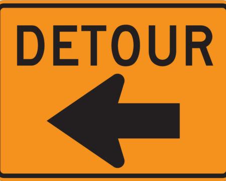 detour sign left
