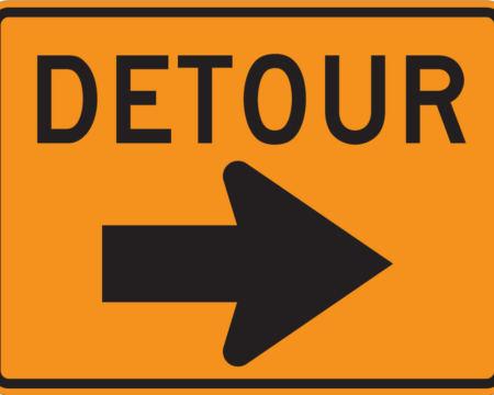 detour sign right