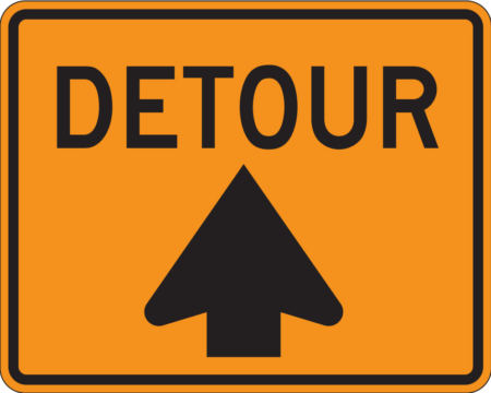 detour forward yellow and black sign