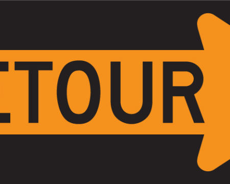 detour right sign yellow and black