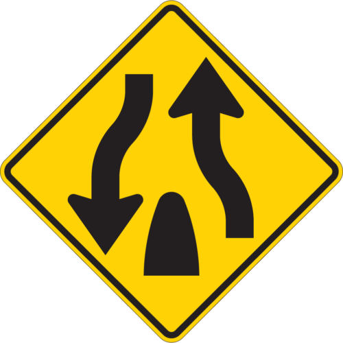divided highway ends yellow diamond symbol