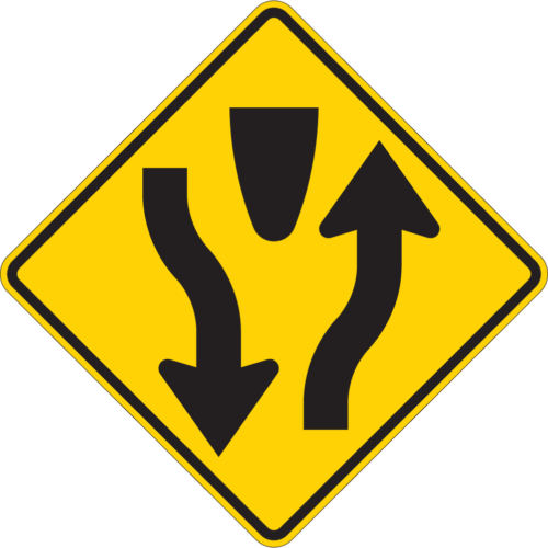 divided highway yellow diamond sign