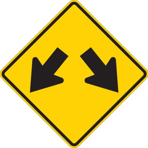 double arrow yellow diamond sign
