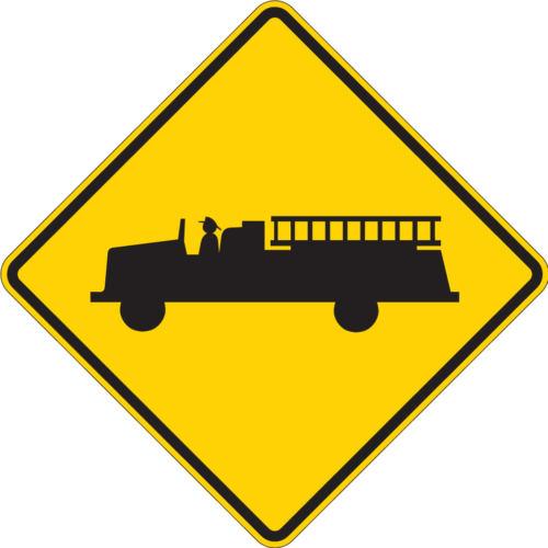 firetruck diamond yellow sign