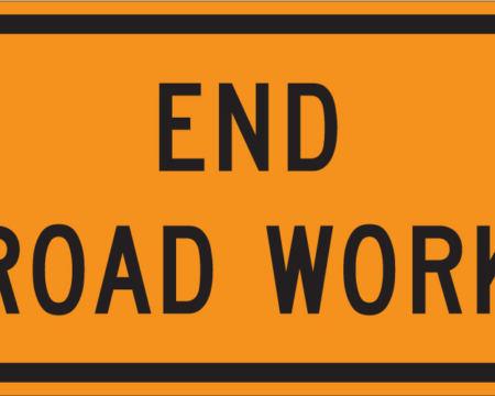 end road work sign safety