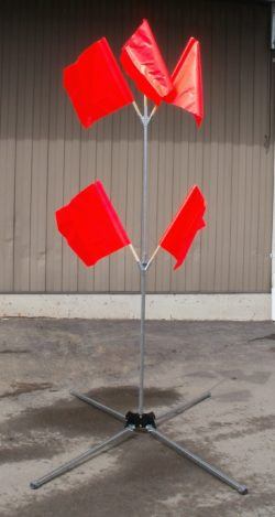 oragne flags and stand
